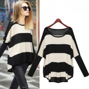 Batwig Sleeve Striped Loose Wool Sweater