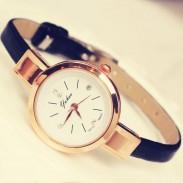 Retro Thin Strap Diamond Elegant Ladies Alloy Quartz Wrist Rose Gold Watch