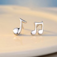 Asymmetrical Sterling Silver Music Note Polishing Minimalism Earrings