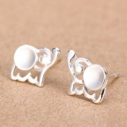Fresh Baby Elephant 925 Silver Stud Earrings/Ear Studs