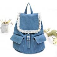 Lace Denim Cute Mini College Grils Backpacks