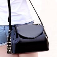 Vintage Patent Leather Rivet Messenger Bag