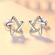 Sweet Women Silver Cute Zircon Star Hollow Earring Studs