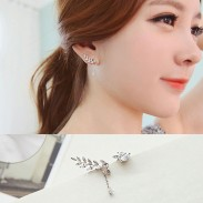 Fashion Cute Leaves Asymmetric Zircon S925 Sterling Silver Earring