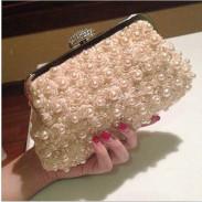 Diamond Buckle Rose Sweet Pearl Beaded Prom Evening Handbag Wedding Bag Party Clutch