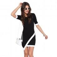 Sexy Hem Mid Sleeve Contrast Color Summer Dresses