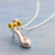 Unique High-heeled Shoe Bowknot Pendant Frosted Silver Cute Clavicle Women Chain Necklace