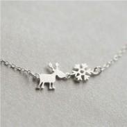 Sterling Silver Scrub Santa's elk Snowflake Pendant Clavicle Necklace