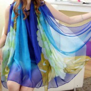 Colorful Flower Shawl Scarf Dual Chiffon Long Beach Scarf