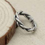 Personality Retro Thai Silver Braided Open Ring