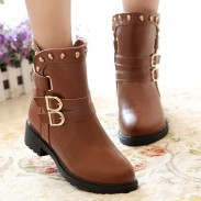 Cool Skull Rivet Buckle Low-heeled Boots