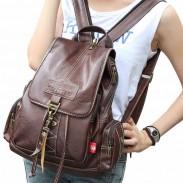 Vintage Brown Button Preppy Backpack School Bag Packsack