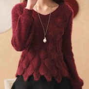 Loosen Short V Neck Knitwear Solid Color Knitwear Coat