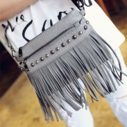 Punk Circular Rivets Tassels Fashion Small Square Messenger Shoulder Bag
