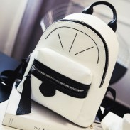 Cute Contrast Color Girl Small Rucksack Mini Satchel PU Shopping Backpack