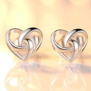 Fashion Heart-Shaped Mini Silver Polished Women Earring Studs Sweet Hollowed-out Earring