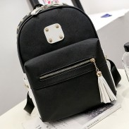 Fashion PU Rivets Patch Black Gray Tassel Large School Backpack