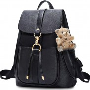 Leisure Lichee Pattern School Bag Gift Bear Doll PU Draw String Black Metal Button Backpack