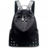 Pure Black X Rivet Oxford Waterproof Rucksack Punk Leisure Schoolbag Travel Backpack