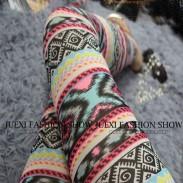 Fashion Girl's Bohemian style Patterns Printing Mesh Thin Sun Block Ninth Leggings