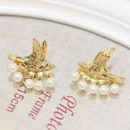 Fashion Bird Pearl Hanging Stud Earrings