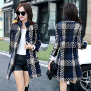 Fashion Winter Overcoat Lattice Weaving Stand Collar Gird Wool Bodycon Coat Jacket
