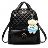 Fresh Quilted Backpack Flower Zipper Shoulder Bag Bear Handbag