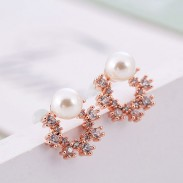Fashion Gemstone Crystal Flower Round Pearl Silver Earring Studs