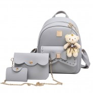 Cute Gray Pink Splicing Bowknot College Bag Bear Pendant PU Bow School Backpacks