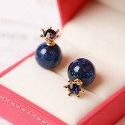 Sweet Deep Blue Ice Crystal Ball Crown Dual-purpose Round Earring Studs