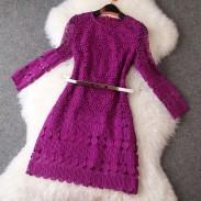 Elegant Hollow Flower Belt Purple Dress