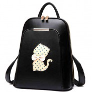 College Polka Dot Kitten Bow Mixed Colors School Cat Trapezoid Backpack