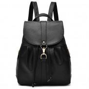 Fashion Lichee Pattern PU Girl's Fold Metal Lock Flap Backpack Leisure Travel Backpack