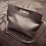 Fashion Casual Simple Solid Leather Handbag Shoulder Bag Messenger Bag