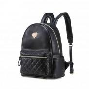 Diamond Grid Casual Simple Solid PU College Backpack School Bag