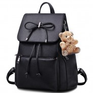 Unique Flap Draw String Large Capacity Bowknot Bear Doll PU School Backpack