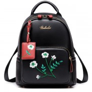 Unique Girl's Flowers Embroidery PU School Backpack