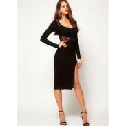 Lace Side Split Long Sleeve Black Dresses