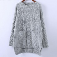 College Loose Round Neck Knitwear Rhombus Solid Color Sweater