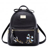 Leisure Mini Soft PU Embroidery Rivet Black White Flower School Backpack