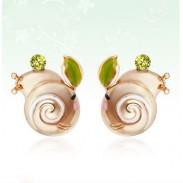 Cute Snail Animal Rhinestone Birthday Earrings