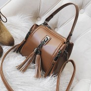 Retro Tassel Simple Glossy Fringed Handbag Lady Shoulder Bag