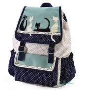 Lovely Dot Cute Cat Lace Leisure School Backpack