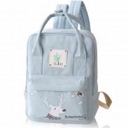 Cartoon Deer Girl Rucksack College Multifunction Canvas Backpack