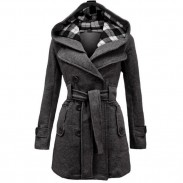 Fashion Lattice Fleece Check Hoodie Double Women Breast Coat Jacket Winter Coat