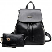 Leisure Simple Black PU School Travel Gift Clutch Bag Backpack