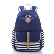 Simple Stripe Backpack Canvas School Bag Travel Bag
