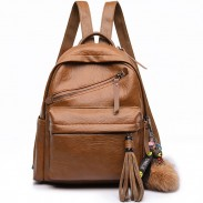 Retro Casual Outdoor Sports PU School England Style Tassels Travel Backpack