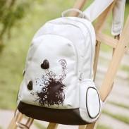 Flower Prints Polka Dot Waterproof  Heart Shaped Backpack