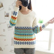 Round Collar Geometry Print Cardigan